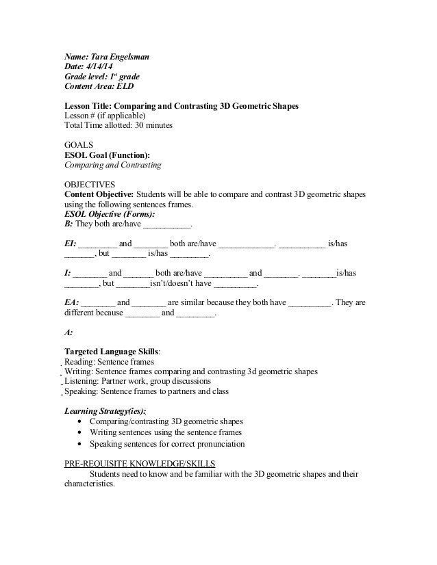 Eld Lesson Plan Template Eld Final Draft Lesson Plan
