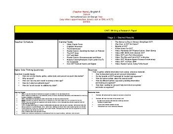 Eld Lesson Plan Template Frightful S Mountain 6th Grade English Nys Module 4 Ubd