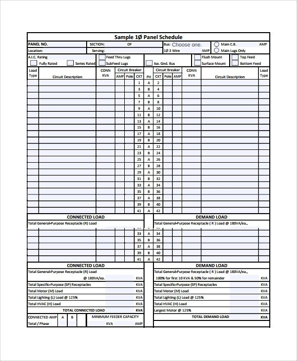 Electric Panel Schedule Template Sample Panel Schedule Template 7 Free Documents