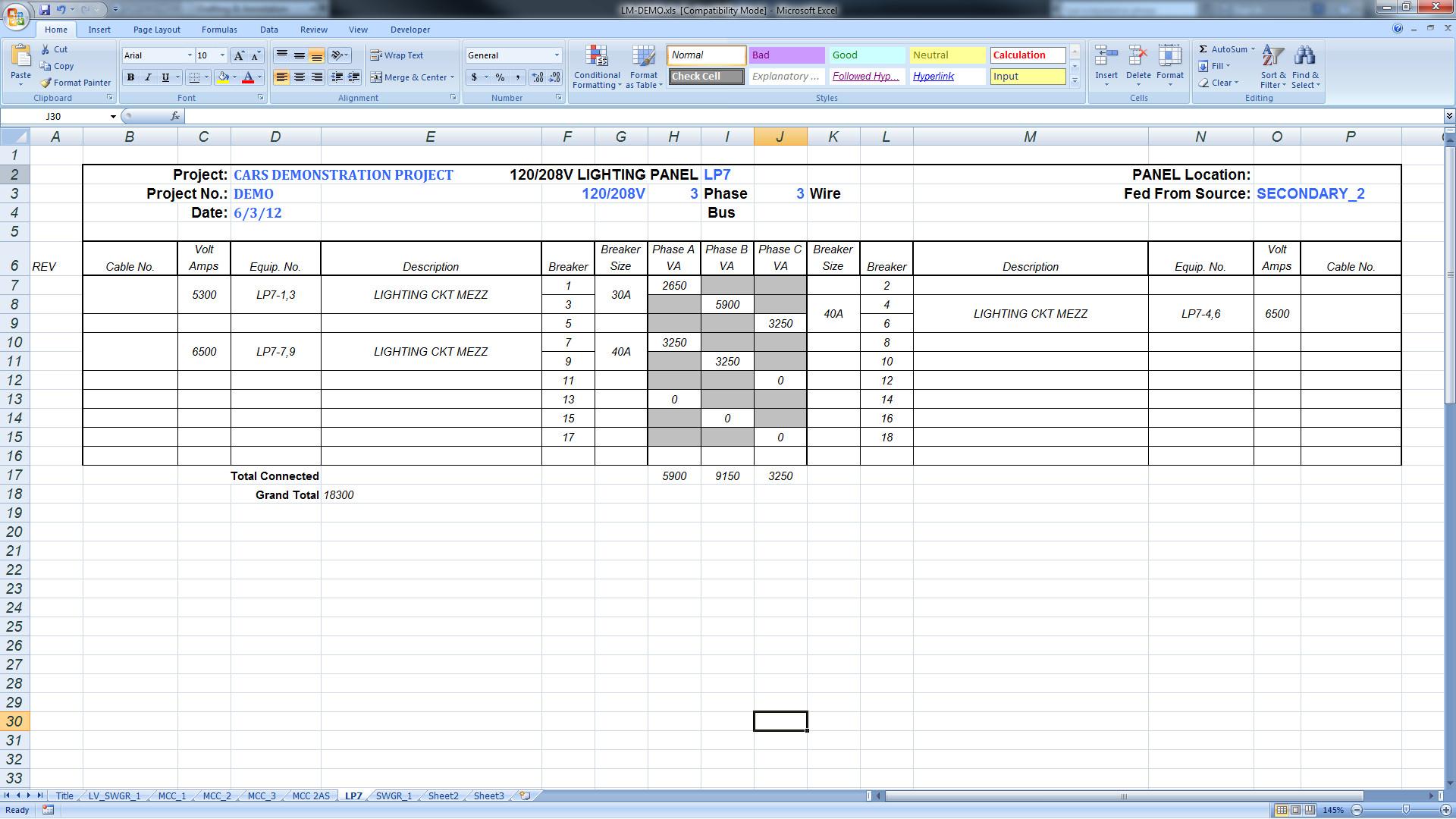 Electrical Panel Schedule Excel Template Export Panel Schedules to Excel – Bimarabia