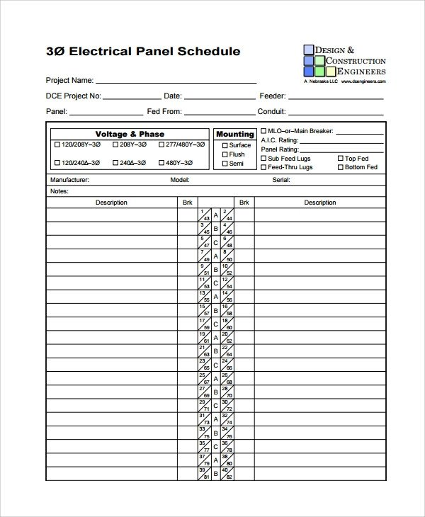 Electrical Panel Schedule Excel Template Sample Panel Schedule Template 7 Free Documents