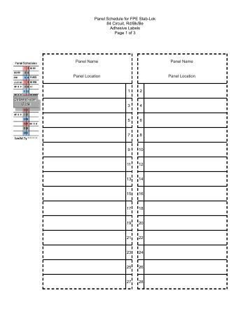 Electrical Panel Schedule Template Excel Download Electrical Circuit Breaker Panel Label Template