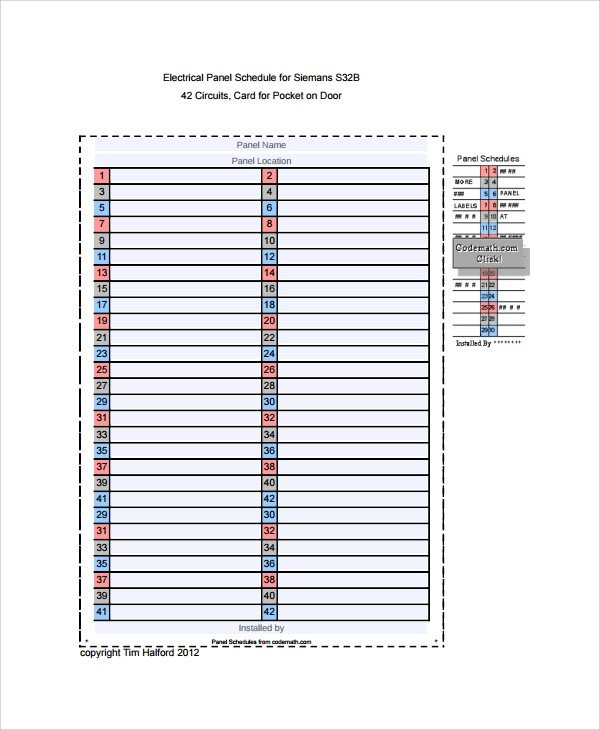 Electrical Panel Schedule Template Excel Sample Panel Schedule Template 7 Free Documents