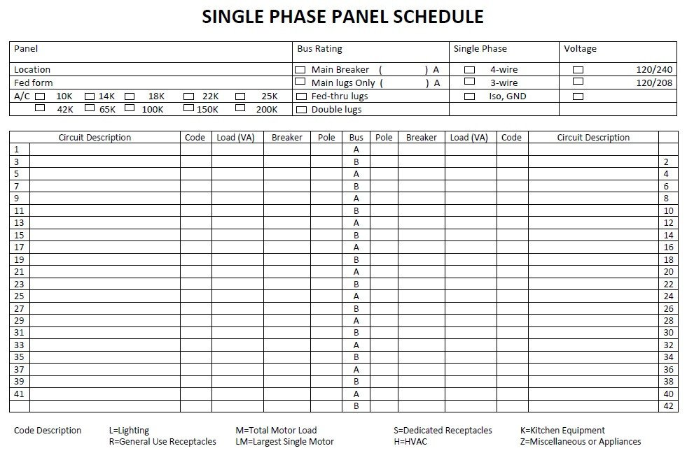 Electrical Panel Schedule Template Pdf 5 Free Panel Schedule Templates In Ms Word and Ms Excel