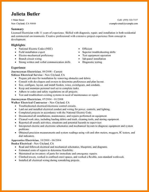 Electrician Resume Template Microsoft Word 5 Electrician Resume Word format