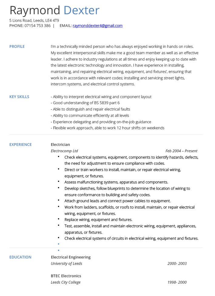Electrician Resume Template Microsoft Word Electrician Cv Example and Template Cv Technician