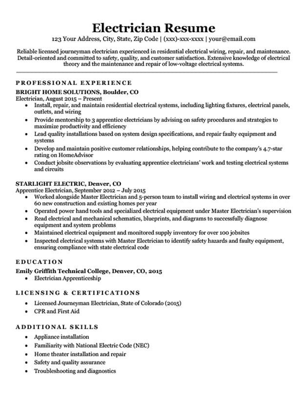 Electrician Resume Template Microsoft Word Electrician Resume Sample & Writing Tips