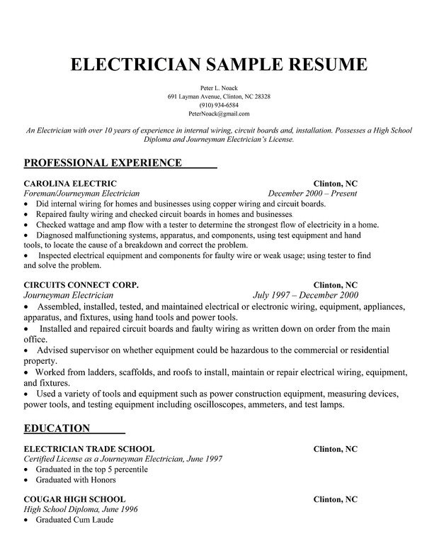 Electrician Resume Template Microsoft Word Electrician Resume Samples