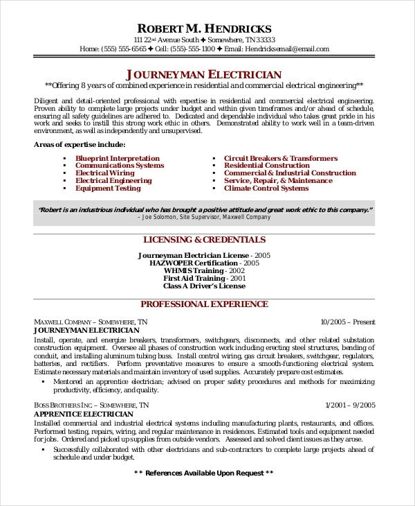 Electrician Resume Template Microsoft Word Electrician Resume Template 5 Free Word Excel Pdf