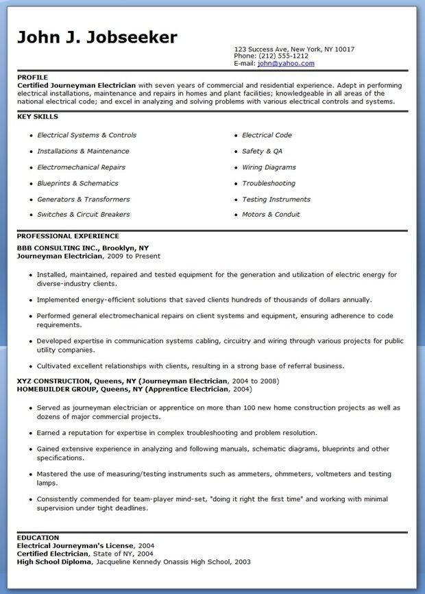 Electrician Resume Template Microsoft Word Journeyman Electrician Resume Samples