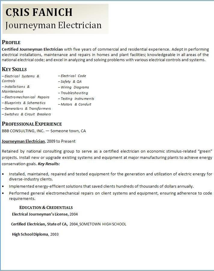 Electrician Resume Template Microsoft Word Journeyman Electrician Resume Template