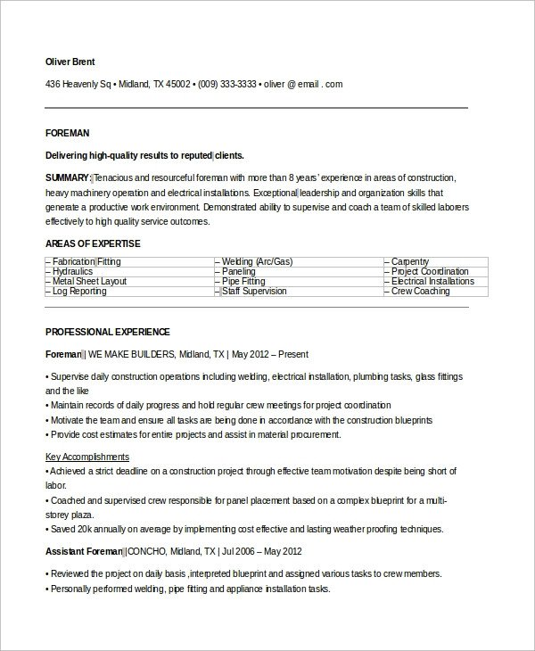 Electrician Resume Template Microsoft Word Sample Electrician Resume 9 Examples In Word Pdf