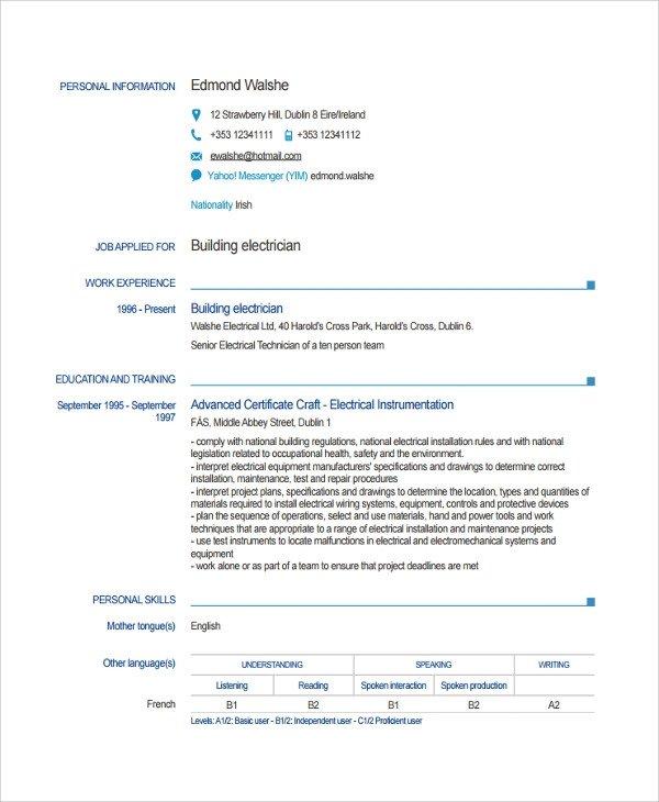Electrician Resume Template Microsoft Word Sample Electrician Resume Template 7 Free Documents