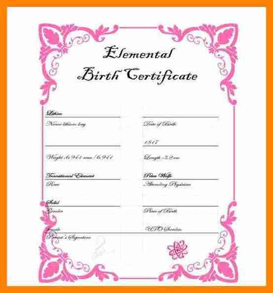 Element Birth Certificate 5 Elemental Birth Certificate