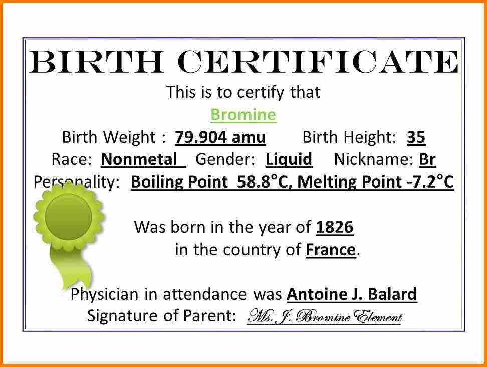 Element Birth Certificate 7 Element Birth Certificate