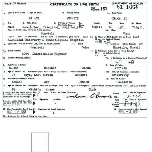 Element Birth Certificate Obama's Long form Birth Certificate 2011
