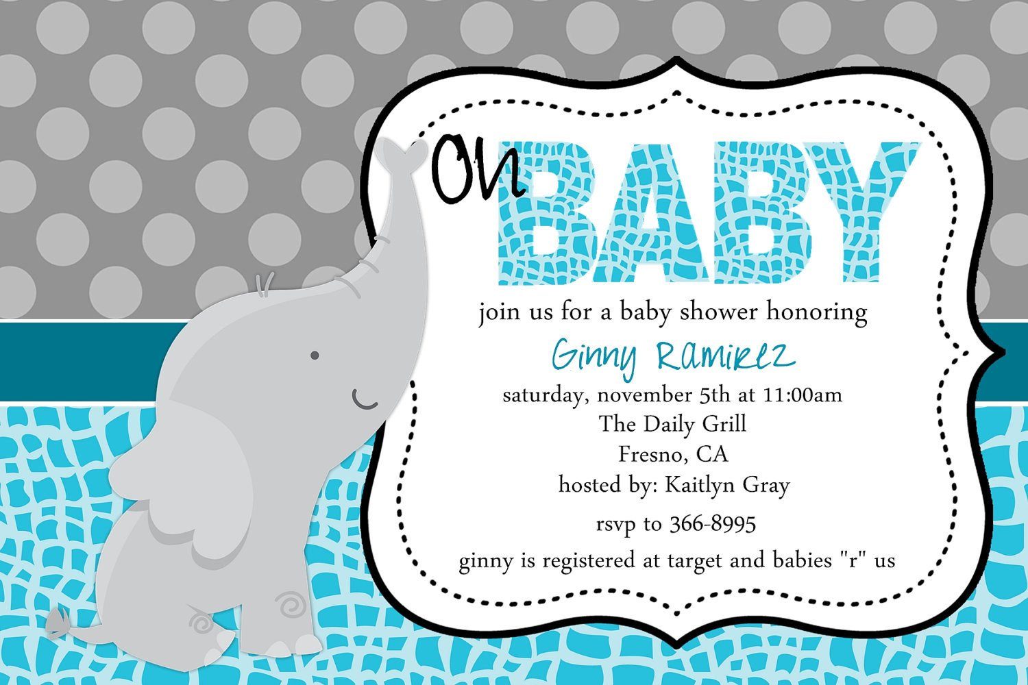 Elephant Baby Shower Invitation Templates Baby Elephant Baby Shower Invitation Blue Pink Purple Little