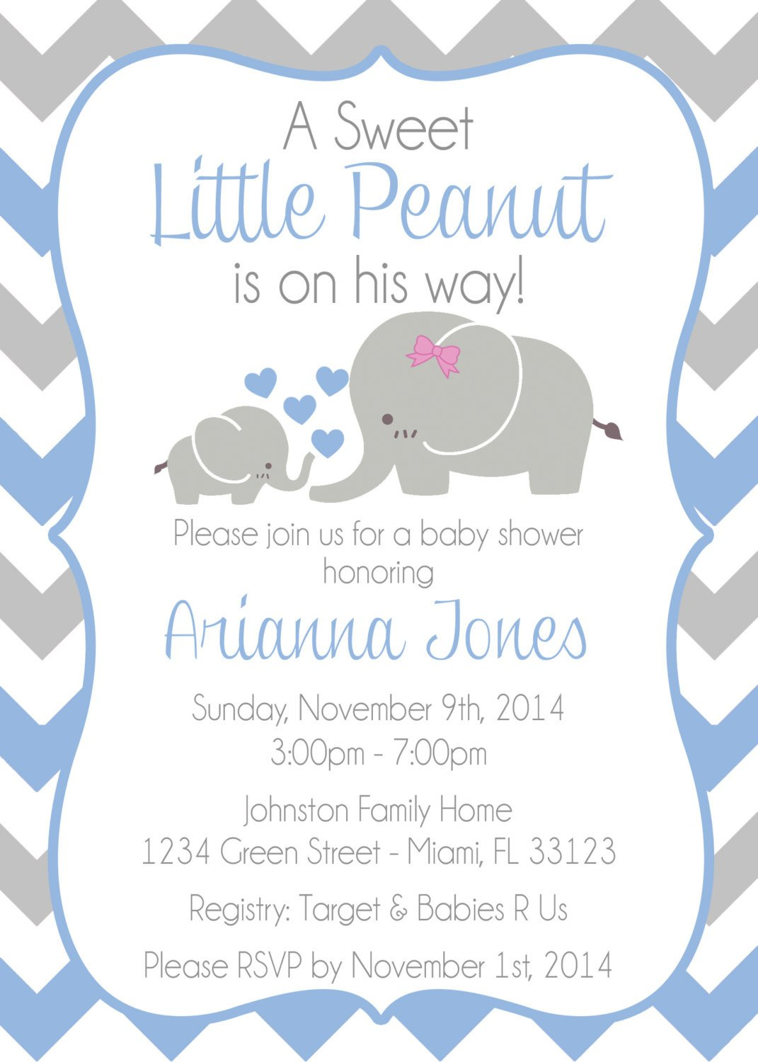 Elephant Baby Shower Invitation Templates Baby Elephant themed Baby Shower Invitation Baby Shower