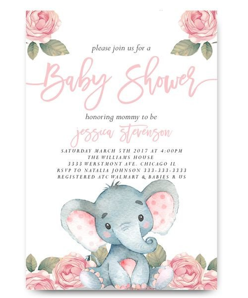 Elephant Baby Shower Invitation Templates Elephant Baby Shower Invitation Elephant with Flowers