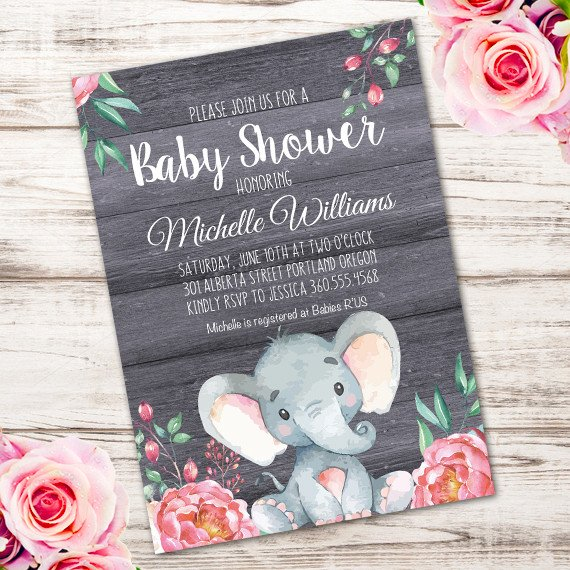 Elephant Baby Shower Invitation Templates Elephant Baby Shower Invitation Printable Edit with