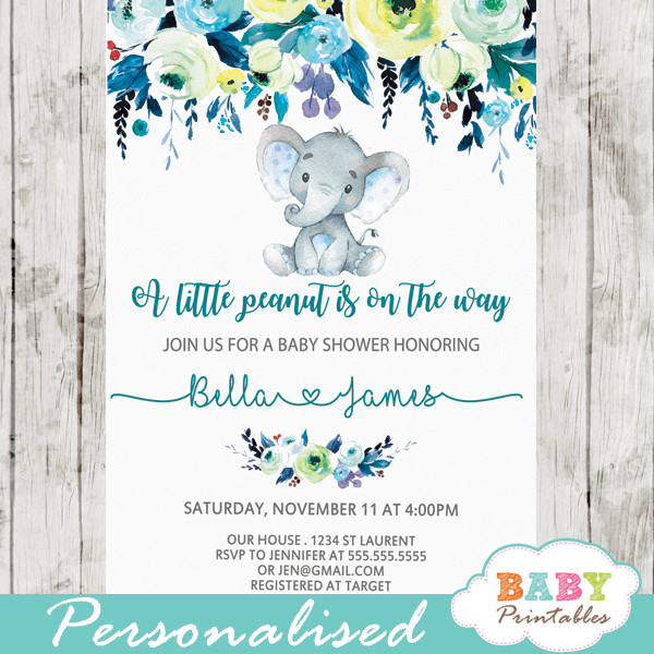 Elephant Baby Shower Invitation Templates Elephant Baby Shower Invitations Boy Floral Teal Blue