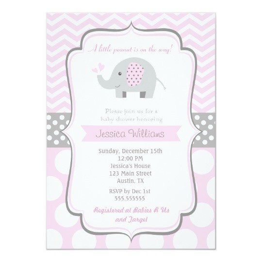 Elephant Baby Shower Invitation Templates Elephant Baby Shower Invitations for Girl