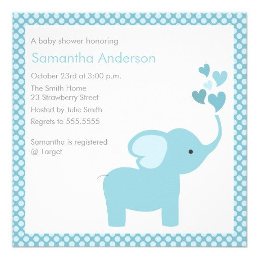 Elephant Baby Shower Invitation Templates Elephant Hearts Baby Shower Invitation Boy