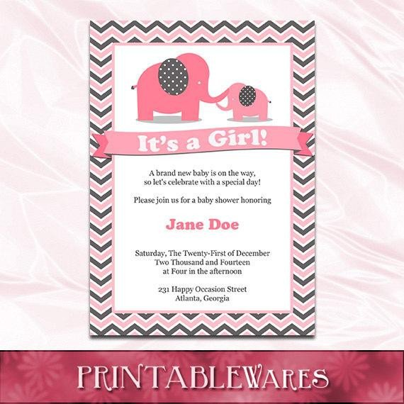 Elephant Baby Shower Invitation Templates Pink Elephant Baby Shower Invitation Template Pink and Gray