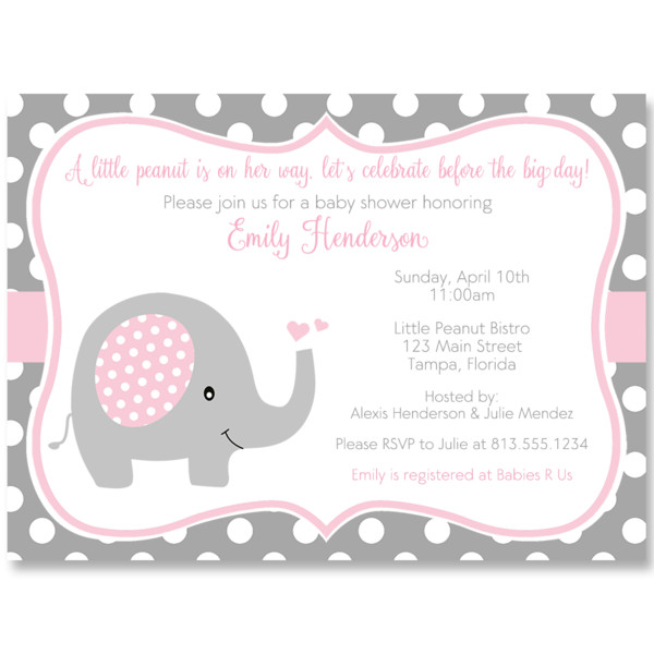 Elephant Baby Shower Invitation Templates Polka Dot Elephant Pink Baby Shower Invitation – the