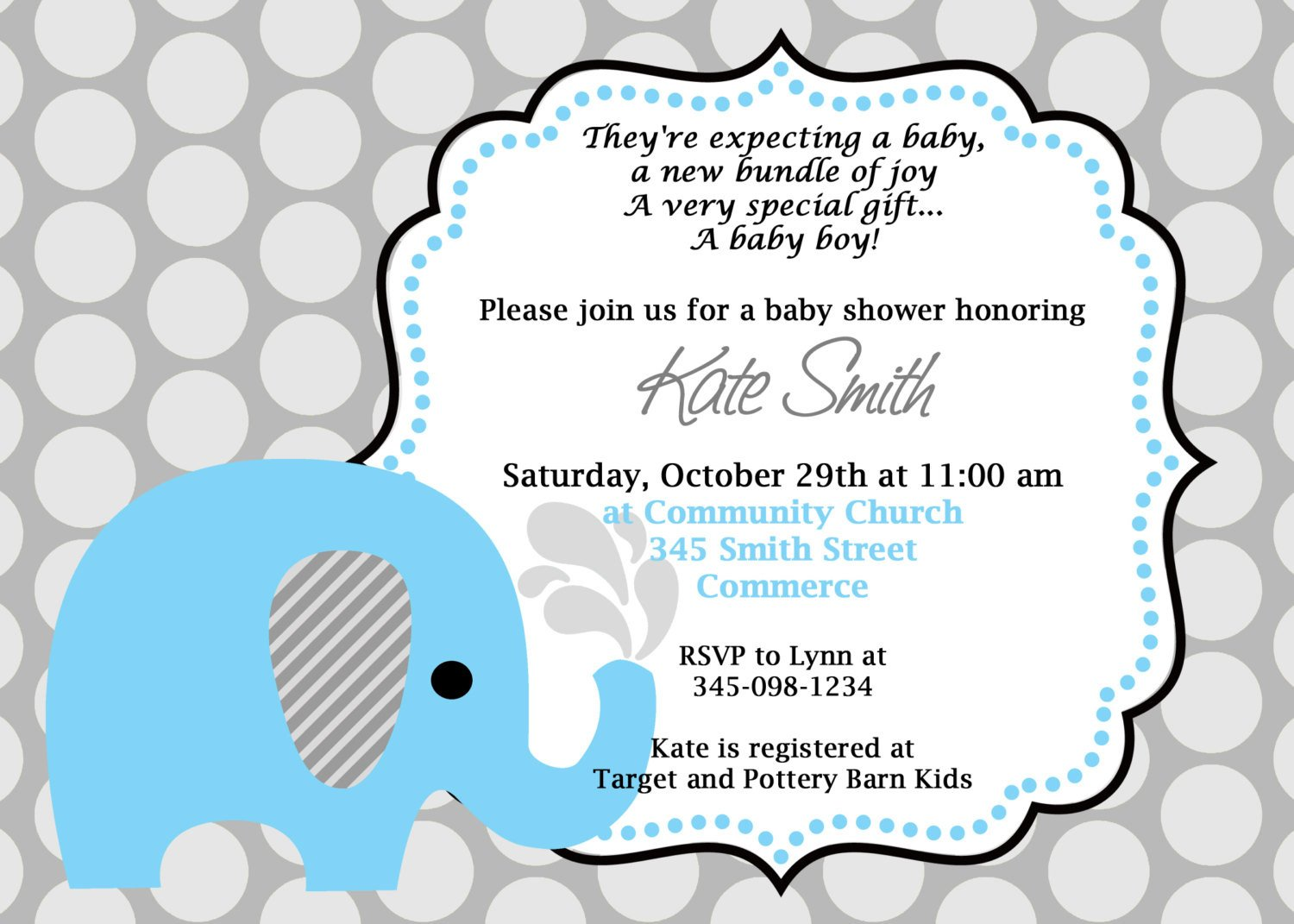Elephant Baby Shower Invitation Templates Printable Blue Elephant Baby Shower Invitation Customized