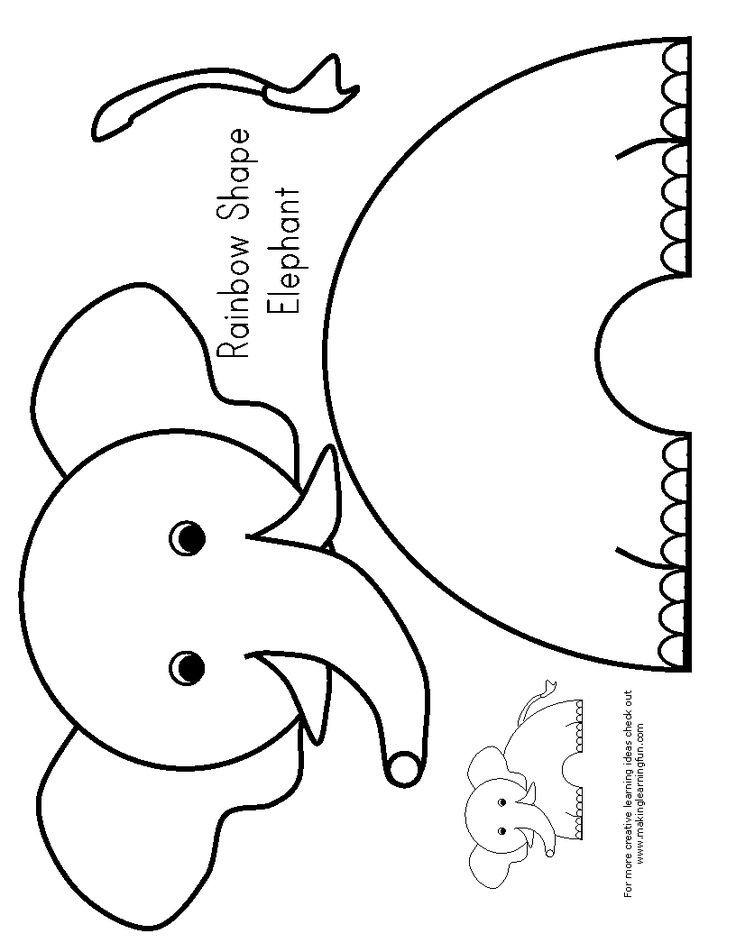 Elephant Cut Out Template E is for Elephant Preschool Elephants