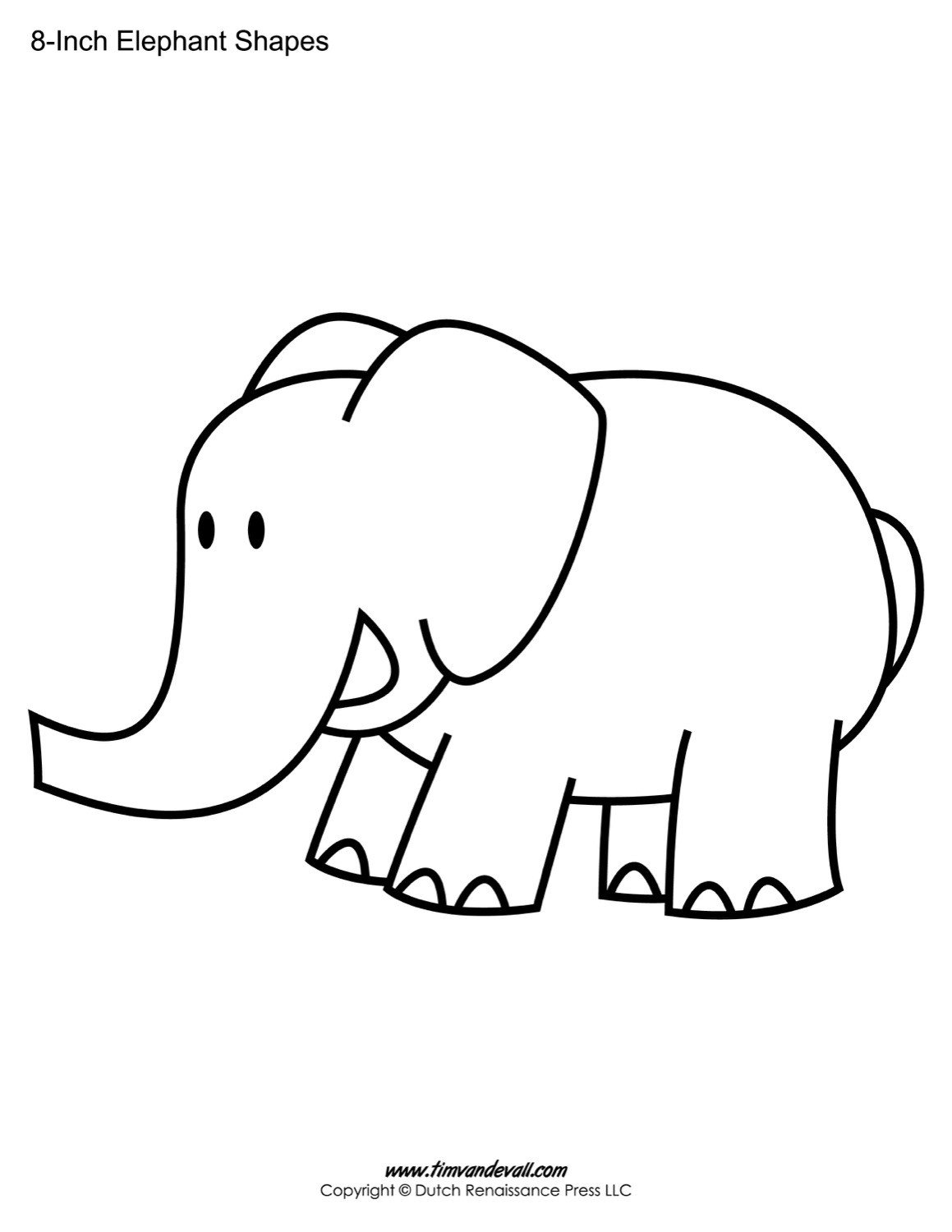 Elephant Cut Out Template Tim Van De Vall Ics & Printables for Kids