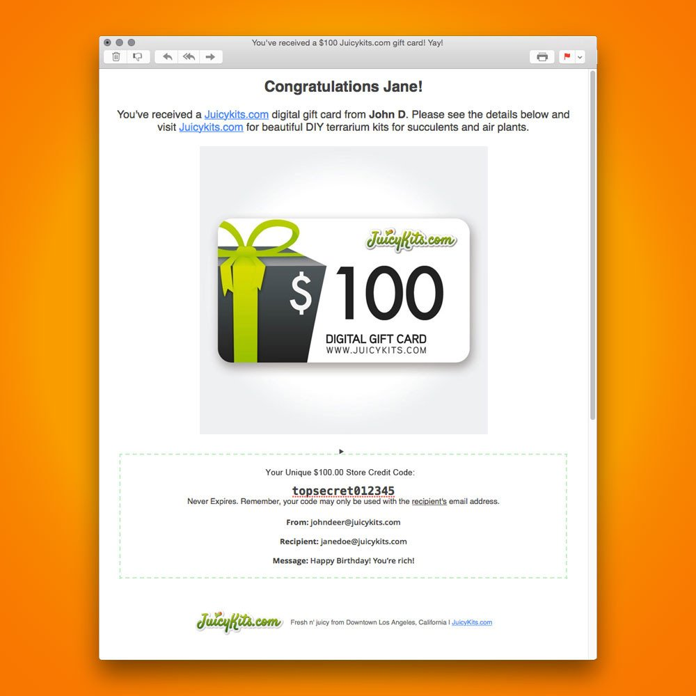 Email Gift Certificate Template $150 Gift Card Juicykits