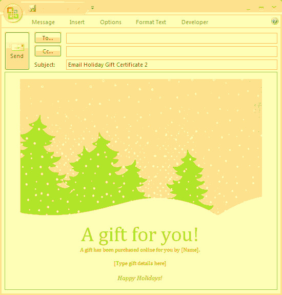 Email Gift Certificate Template E Mail Message Holiday Gift Certificate Free