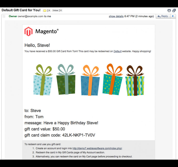 Email Gift Certificate Template Gift Cards Magento Connect