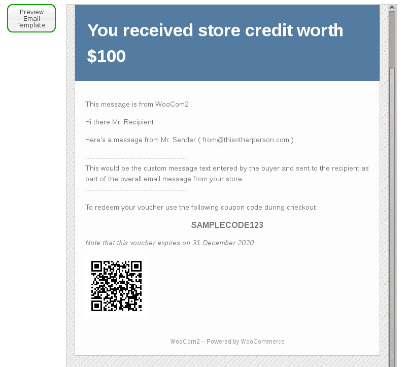 Email Gift Certificate Template Woo Merce Gift Certificates Pro