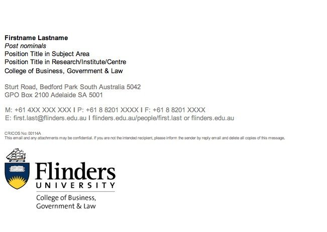Email Signature College Student Guidelines Flinders University