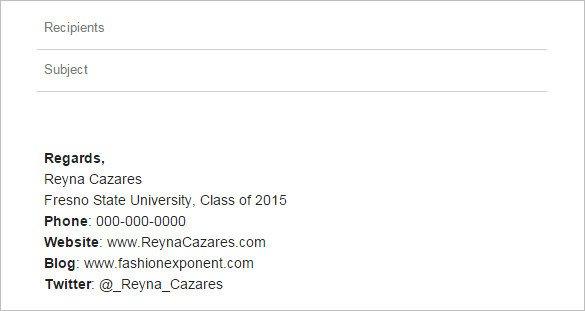 Email Signature College Student Student Email Signature