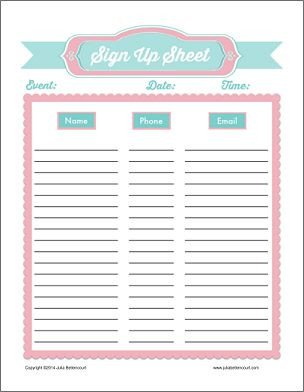 Email Signup Sheet Template Free Printable Sign Up Sheets Prayer