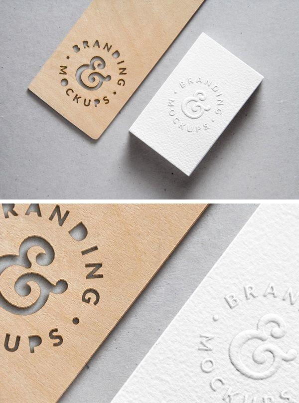 Embossed Business Card Mockup Creative Cutout Wood & Embossed B Card Free Mockup