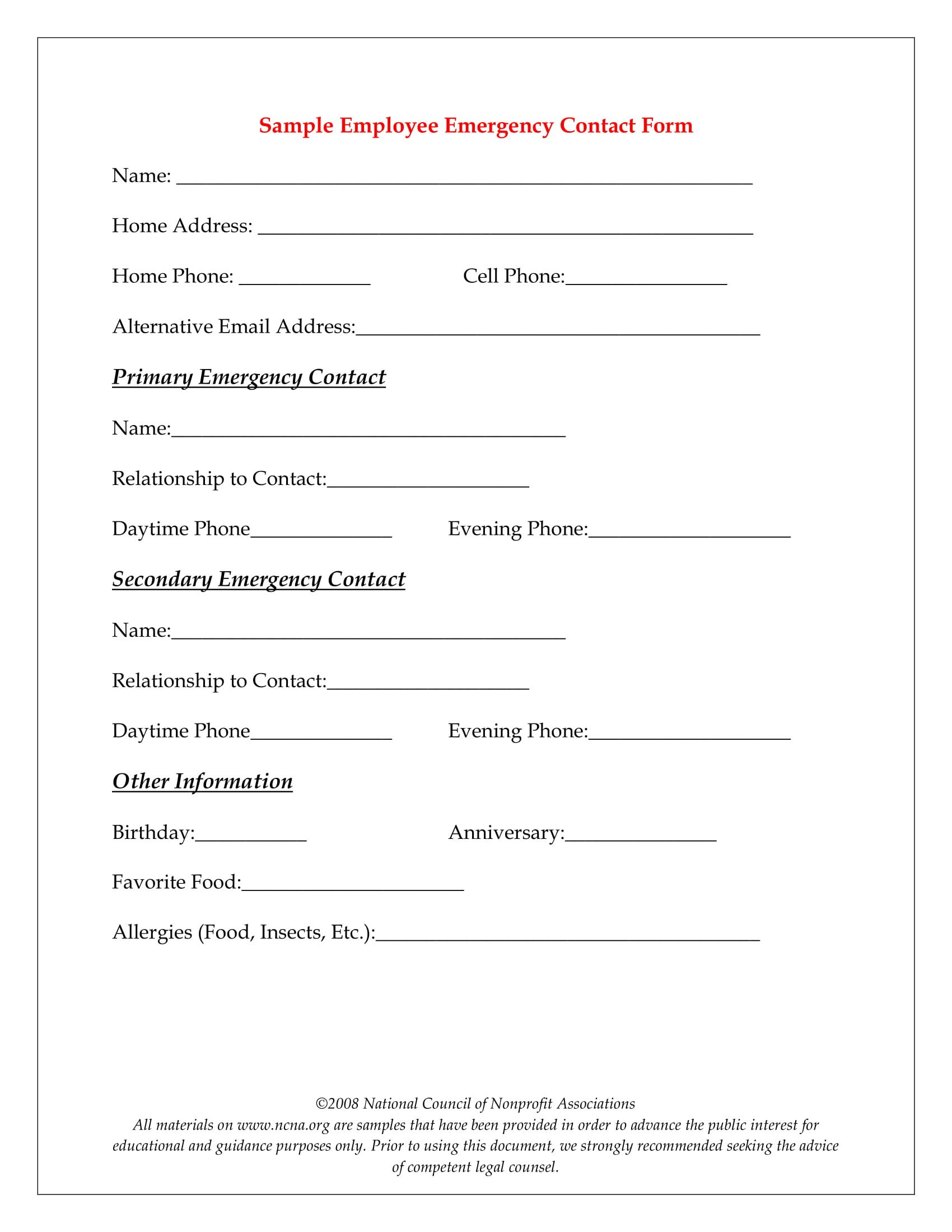 Emergency Contact Information form 10 Emergency Information form Examples Pdf