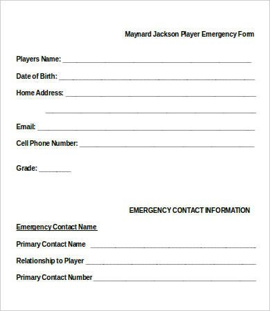 Emergency Contact Information form 11 Emergency Contact forms Pdf Doc