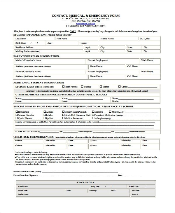 Emergency Contact Information form 8 Emergency Contact form Samples Examples Templates