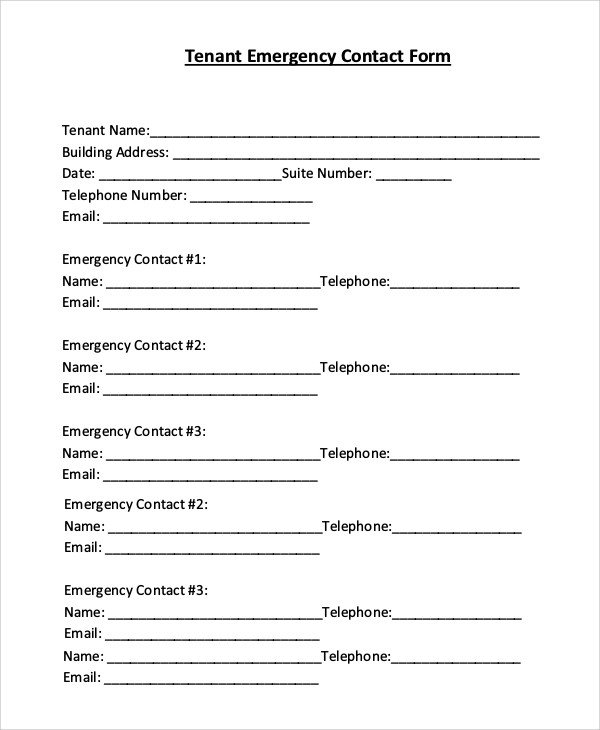 Emergency Contact Information form 8 Sample Emergency Contact forms Pdf Doc