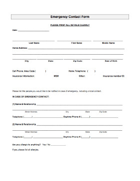 Emergency Contact Information form Emergency Contact form