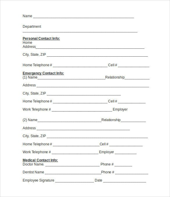 Emergency Contact Information form Emergency Contact forms 11 Download Free Documents In