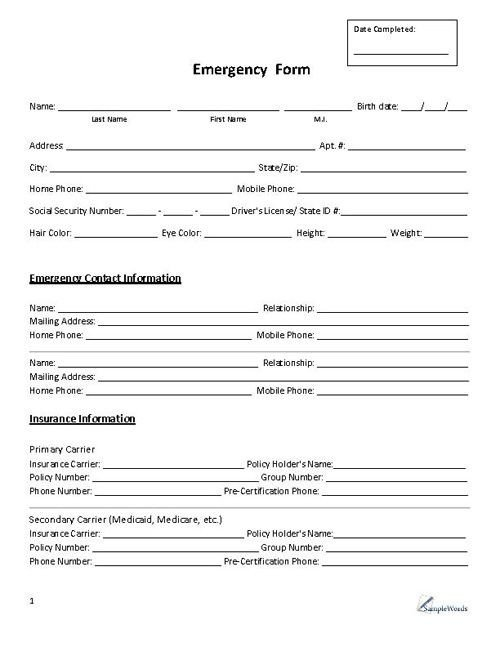 Emergency Contact Information form Emergency form Contact