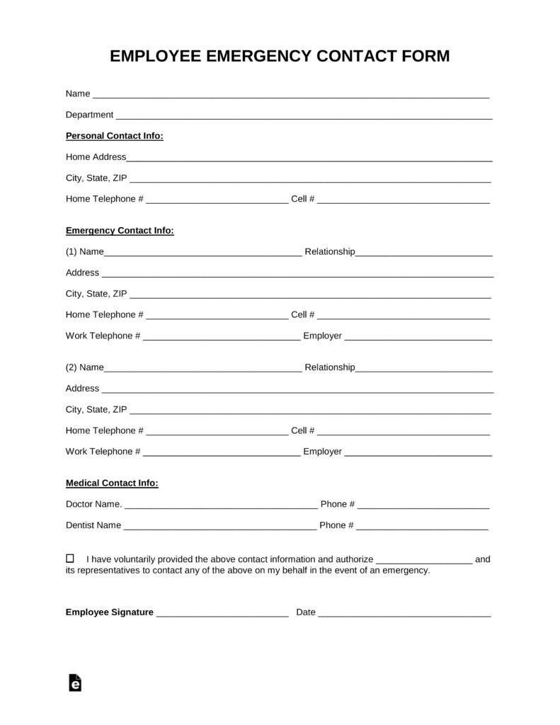 Emergency Contact Information form Free Employee Emergency Contact form Pdf Word