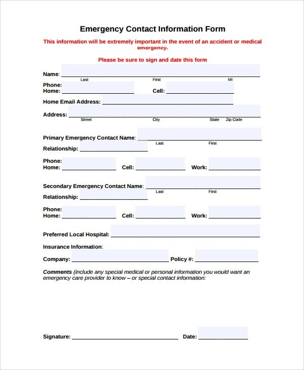 Emergency Contact Information form Sample Contact form 8 Documents In Pdf Word