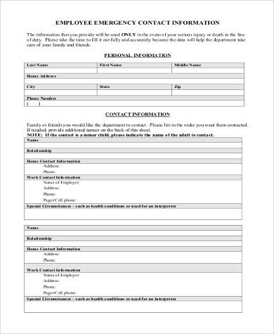 Emergency Contact Information form Sample Employee Emergency Contact form 6 Free Documents